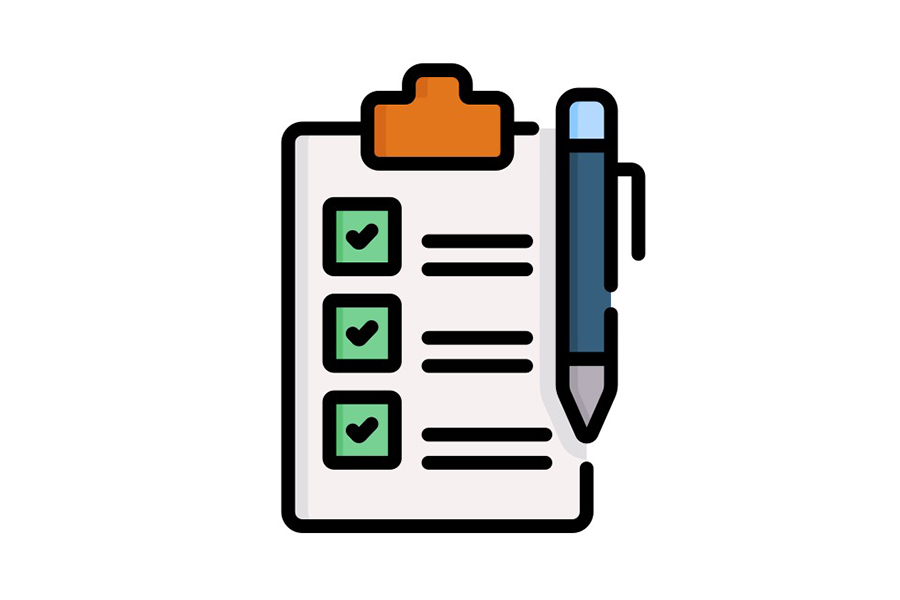 icon of clipboard and pen